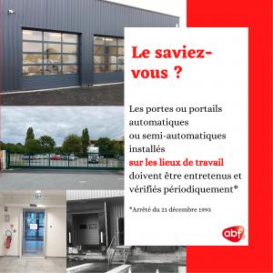 [LIEUX DE TRAVAIL] Obligation de maintenance des portes et portails automatiques