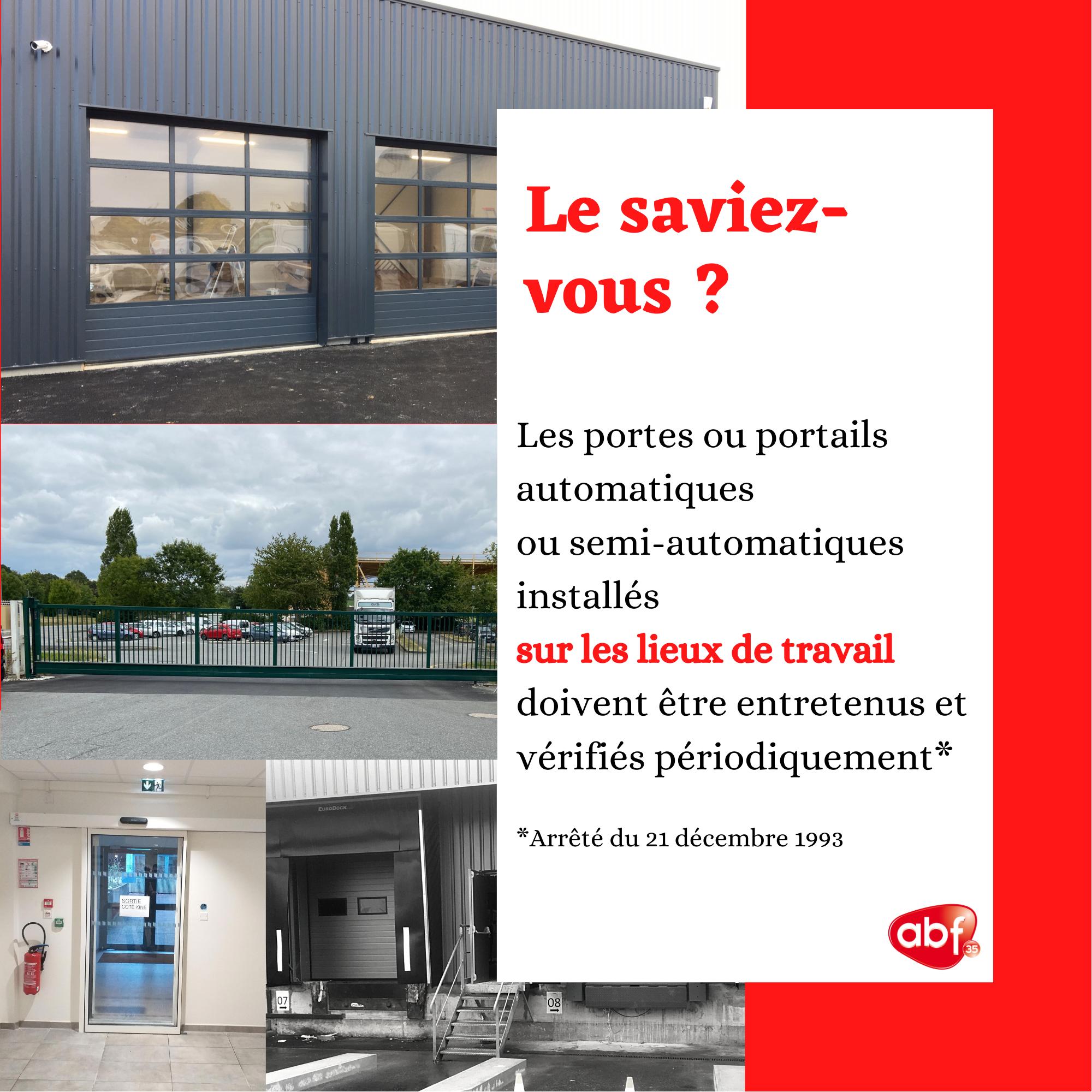 You are currently viewing [LIEUX DE TRAVAIL] Obligation de maintenance des portes et portails automatiques